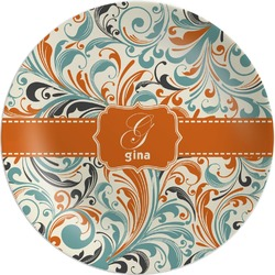 Orange & Blue Leafy Swirls Melamine Plate (Personalized)