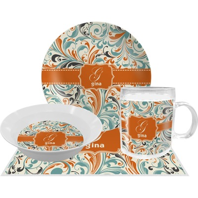 orange blue leafy swirls dinner set 4 pc personalized. Black Bedroom Furniture Sets. Home Design Ideas