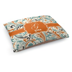 Orange & Blue Leafy Swirls Dog Bed (Personalized)