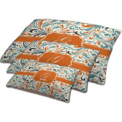 Orange & Blue Leafy Swirls Dog Bed w/ Name and Initial