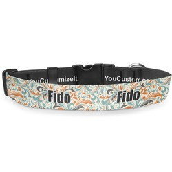 Orange & Blue Leafy Swirls Deluxe Dog Collar (Personalized)