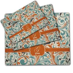 Orange & Blue Leafy Swirls Dog Food Mat w/ Name and Initial