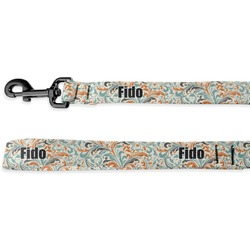 Orange & Blue Leafy Swirls Deluxe Dog Leash (Personalized)