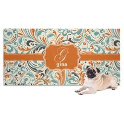 Orange & Blue Leafy Swirls Pet Towel (Personalized)