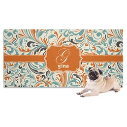Orange & Blue Leafy Swirls Pet Towel (Personalized)