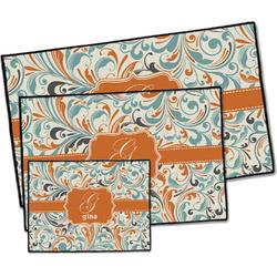 Orange & Blue Leafy Swirls Door Mat (Personalized)