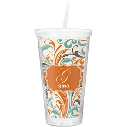 Orange & Blue Leafy Swirls Double Wall Tumbler with Straw (Personalized)