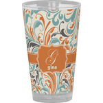 Orange & Blue Leafy Swirls Drinking / Pint Glass (Personalized)
