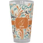 Orange & Blue Leafy Swirls Drinking / Pint Glass (Personalized)