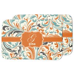 Orange & Blue Leafy Swirls Dish Drying Mat (Personalized)