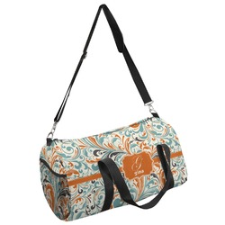 Orange & Blue Leafy Swirls Duffel Bag - Multiple Sizes (Personalized)