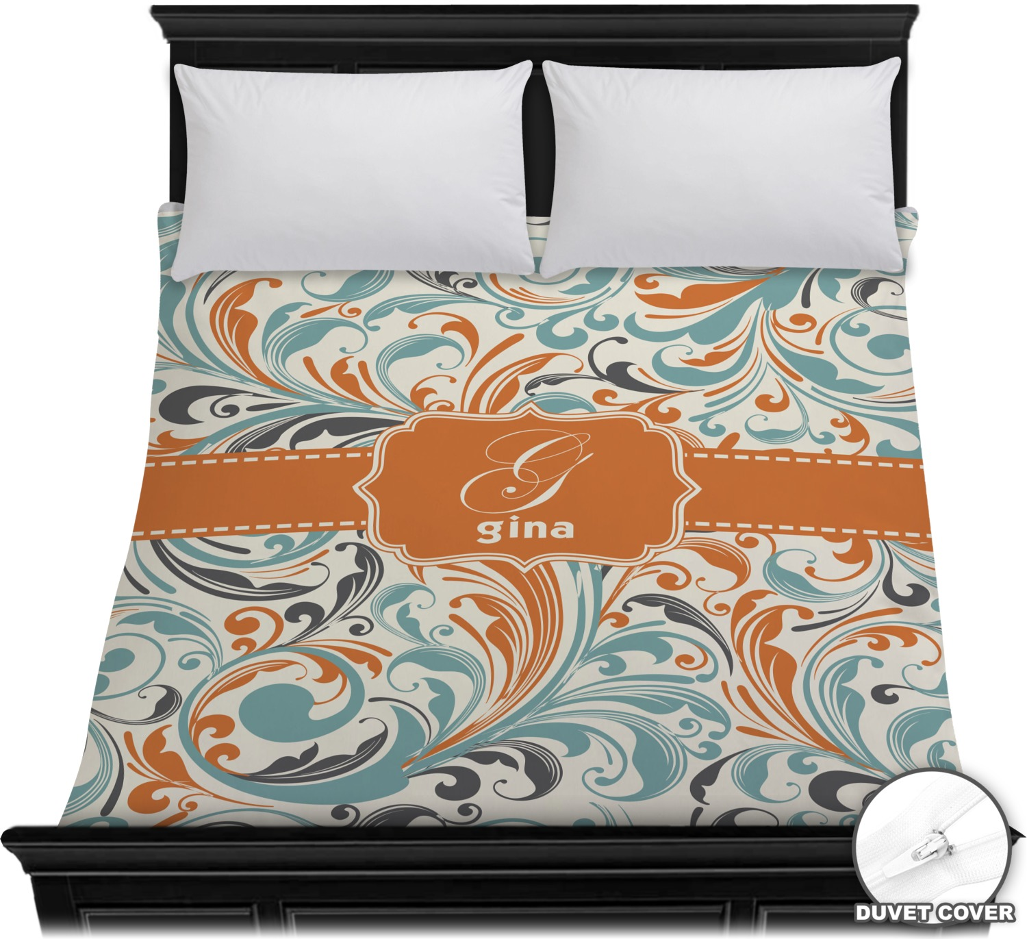 Orange Amp Blue Leafy Swirls Duvet Cover Full Queen