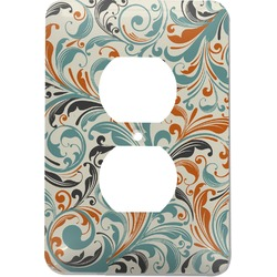 Orange & Blue Leafy Swirls Electric Outlet Plate (Personalized)