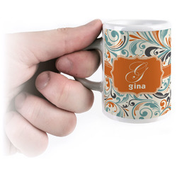 Orange & Blue Leafy Swirls Espresso Mug - 3 oz (Personalized)