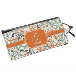 Orange & Blue Leafy Swirls Genuine Leather Eyeglass Case (Personalized)