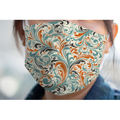 Orange & Blue Leafy Swirls Face Mask Cover (Personalized)