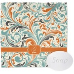 Orange & Blue Leafy Swirls Wash Cloth (Personalized)