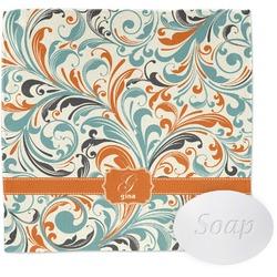Orange & Blue Leafy Swirls Washcloth (Personalized)
