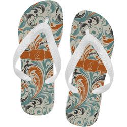 Orange & Blue Leafy Swirls Flip Flops - XSmall (Personalized)