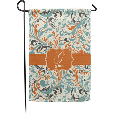 Orange & Blue Leafy Swirls Garden Flag - Single or Double Sided (Personalized)