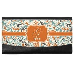Orange & Blue Leafy Swirls Genuine Leather Ladies Wallet (Personalized)