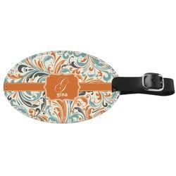 Orange & Blue Leafy Swirls Genuine Leather Luggage Tag (Personalized)
