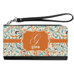 Orange & Blue Leafy Swirls Genuine Leather Smartphone Wrist Wallet (Personalized)