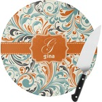 Orange & Blue Leafy Swirls Round Glass Cutting Board (Personalized)