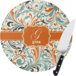 Orange & Blue Leafy Swirls Round Glass Cutting Board (Personalized)