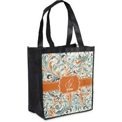 Orange & Blue Leafy Swirls Grocery Bag (Personalized)