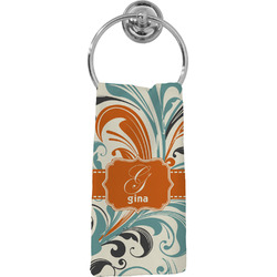 Orange & Blue Leafy Swirls Hand Towel - Full Print (Personalized)