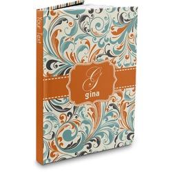 Orange & Blue Leafy Swirls Hardbound Journal (Personalized)