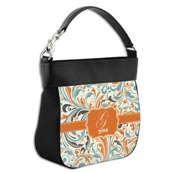 Orange & Blue Leafy Swirls Hobo Purse w/ Genuine Leather Trim (Personalized)