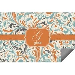 Orange & Blue Leafy Swirls Indoor / Outdoor Rug (Personalized)