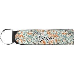 Orange & Blue Leafy Swirls Neoprene Keychain Fob (Personalized)