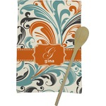 Orange & Blue Leafy Swirls Kitchen Towel - Full Print (Personalized)