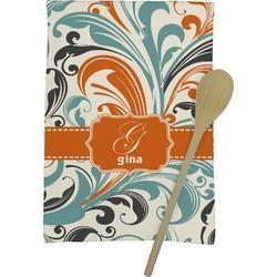 Orange & Blue Leafy Swirls Kitchen Towel - Full Print (Personalized)