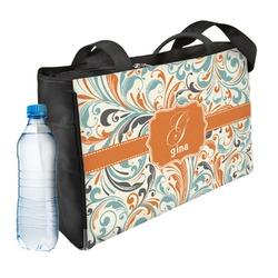 Orange & Blue Leafy Swirls Ladies Workout Bag (Personalized)