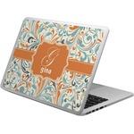 Orange & Blue Leafy Swirls Laptop Skin - Custom Sized (Personalized)