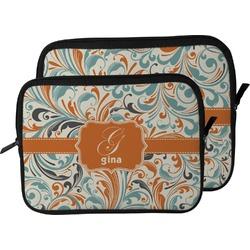 Orange & Blue Leafy Swirls Laptop Sleeve / Case (Personalized)