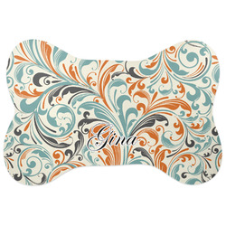 Orange & Blue Leafy Swirls Bone Shaped Dog Food Mat (Personalized)