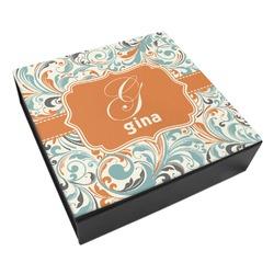 Orange & Blue Leafy Swirls Leatherette Keepsake Box - 3 Sizes (Personalized)