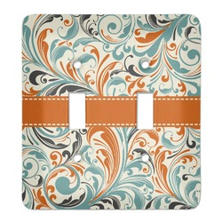 Orange & Blue Leafy Swirls Light Switch Cover (2 Toggle Plate) (Personalized)