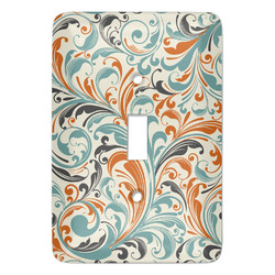 Orange & Blue Leafy Swirls Light Switch Cover (Single Toggle) (Personalized)