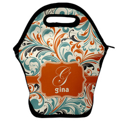 Orange & Blue Leafy Swirls Lunch Bag w/ Name and Initial