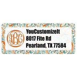 Orange & Blue Leafy Swirls Return Address Labels (Personalized)