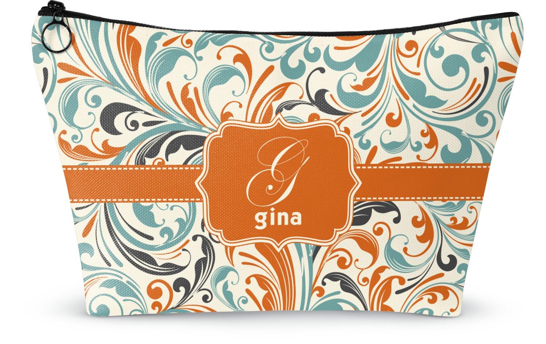 YouCustomizeIt Orange /& Blue Leafy Swirls Duffel Bag Personalized