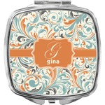 Orange & Blue Leafy Swirls Compact Makeup Mirror (Personalized)
