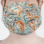 Orange & Blue Leafy Swirls Face Mask Cover (Personalized)