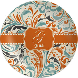 Orange & Blue Leafy Swirls Melamine Plate (Personalized)